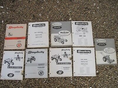 9 Simplicity Garden Tractor Manuals, Wide Variety of Products, Good Stored Cond.