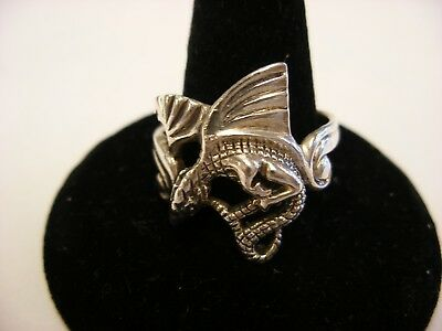 Vintage Retro Sterling Silver Winged Dragon Ring Marked 925 Size 10