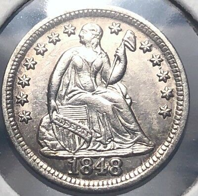 1848 Seated Liberty Silver Half Dime. United States Coin. Uncirculated Piece A+