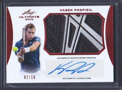 2015 Feuille Ultime Tennis Match-Worn Auto Rouge #SA-VP1 Vasek Pospisil 02/10