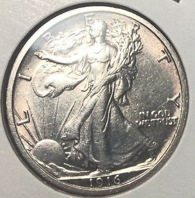 1916 Walking Liberty Silver Half Dollar Uncirculated MS First Year Coin. United