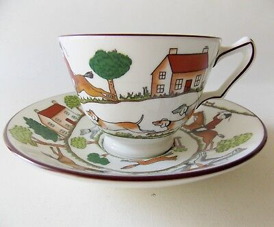 Crown Staffordshire Hunting Scene Cup & Saucer Horses Dogs Hunters Fox Chase