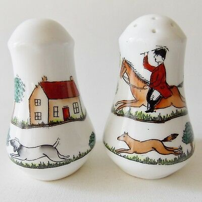 Crown Staffordshire Hunting Scene Salt & Pepper Shakers Horses Dogs Fox Hunting