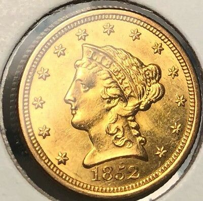 1852-O Quarter Eagle $2.50 Perfect Uncirculated MS New Orleans Liberty Coin good