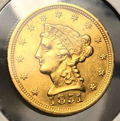 1851 Quarter Eagle $2.50 Gold Uncirculated Piece Collectors Condition example