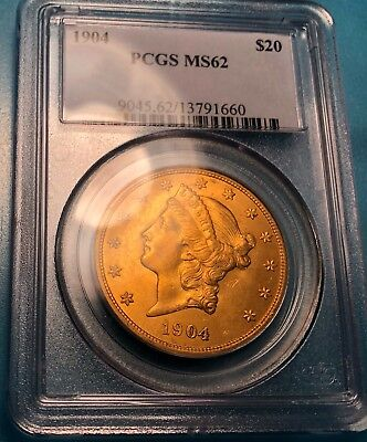 1904 Double Eagle $20 Uncirculated PCGS MS62 Gold Coin From Best Graders in WORL