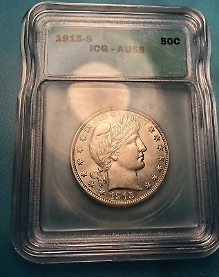 1915-S Barber Silver Half Dollar ICG AU58 Possibly even Better than Stated.SUPER
