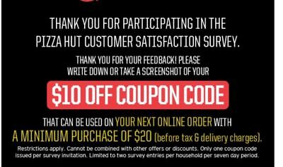 Pizza Hut Coupon 10 Off A Minimum Purchase Of 20 Online Order X