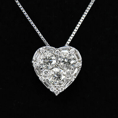 1.2Ct 100% Natural Diamond 18K White Gold Heart Necklace Pendant PWG22-2