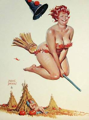 Hilda Riding a Halloween Broom by Duane Byers