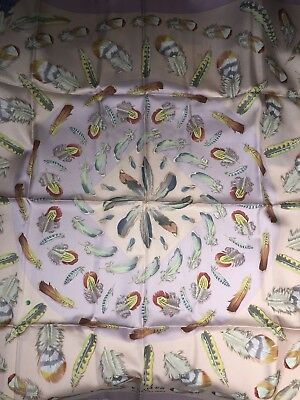 f63561f538a2 Foulard Carré Hermes 90 Soie Plumes 2 Neuf 2016 Collector Scarf 35 Silk