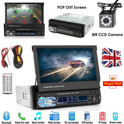 """UK 7"""" Touch Screen Single Din 1 DIN Car Stereo Flip out Bluetooth Radio + Camera"""