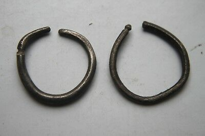 PAIR  of ANCIENT ROMAN SILVER EAR RINGS 1/2nd CENTURY AD