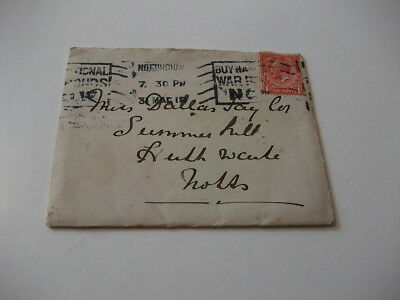 1918 Envelope Postal History Posted to Nottingham. Good Condition