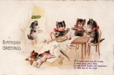 VINTAGE BIRTHDAY GREETING postcard DOG STEALING SAUSAGE FROM CATS' DINNER TABLE