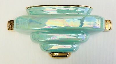 Original Art Deco Wall Pocket Vase Turquoise Gold And Signed HP
