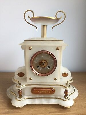 French Alabaster Mantel Clock With Japy Freres Movement-working-restored.