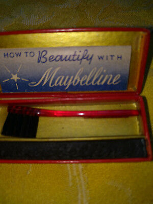 1940s Vintage Cake Maybelline w tiny application brush- instruct book LOT of 5