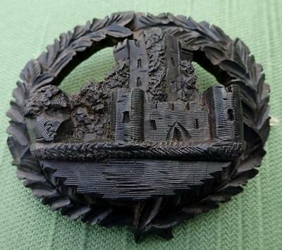 Large Antique Bog Oak Brooch with Design of Ross Castle Ireland
