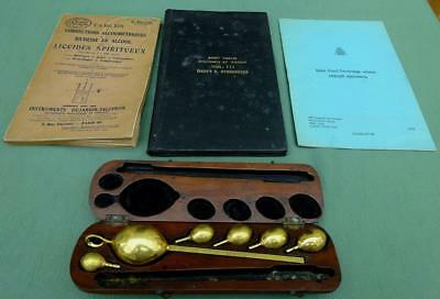 Ex Customs & Excise Hydrometer Set in Wooden Case with Related Booklets