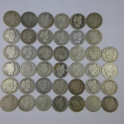 Roll Of 40 Barber Silver Quarters 90% $10. Face Mix AG-G Circulated Stock Photo