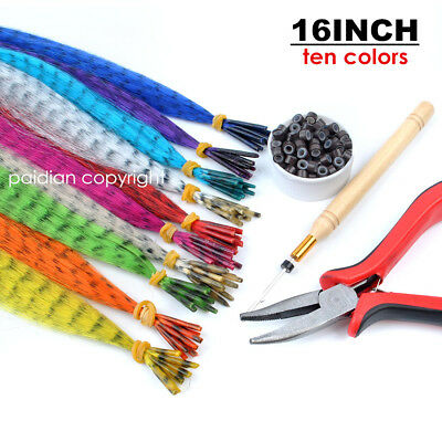 New GRIZZLY Synthetic I tip Feather Hair Extensions Plus Free Beads And Hook