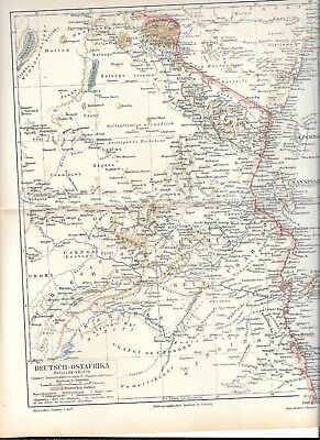 "1895 10x12"" MAP of DEUTSCH-OSTAFRIKA GERMAN EAST AFRICA"