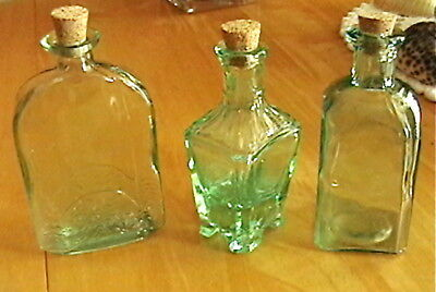 Mini Recycled Glass Bottles (Set Of 3) With Corks
