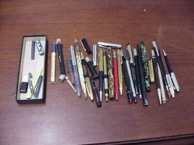 Vintage Lot Of Fountain Pens Pencils Parts & Misc. Some Good Items, Hobbyist