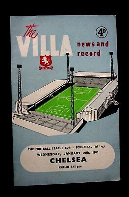 LEAGUE CUP SEMI-FINAL PROGRAMME 1965, ASTON VILLA v CHELSEA (1st leg)