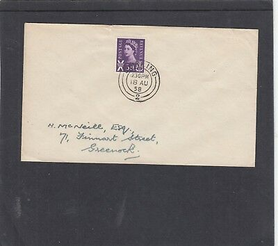 GB 1958 Scotland 3d FDC First Day Cover Stirling -2- h/s pmk