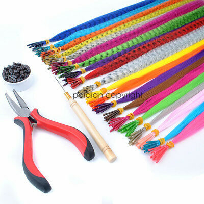 GRIZZLY/SOLID Synthetic I tip Feather Hair Extensions Plus Beads Hook Plier