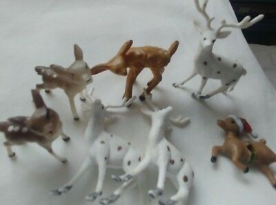 7 Teeny Tiny Plastic Deer Buck Fawns Silhouette Decorations Christmas Anytime