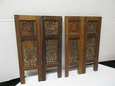 Set of Small Antique Wood Carved Vintage Shutters