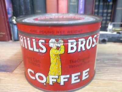 Hills Bros 1 Lb Coffee Can Red Can Brand Store Tin Origina Mid 1900's Packed