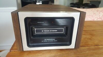 Vintage Pioneer H-22 Solid State 8 Track Player Wood Grain Silver Tested