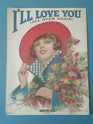 Vintage 1920 Sheet Music , F. Earl Christy  Beautiful Girl Art , I'll love you