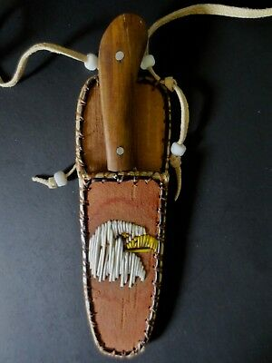 Neck Knife; Eagle Head quill/birchbark sheath, skinning knife P St John, Mohawk