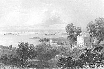 BATTERY PARK SLOPE BROOKLYN New York Bay STATEN ISLAND, 1838 Art Print Engraving