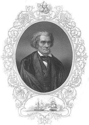 South Carolina Senator JOHN CALDWELL CALHOUN ~ Antique 1856 Art Print Engraving