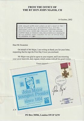 Souvenir Cover With Letter Signed Prime Minister John Major From Collection