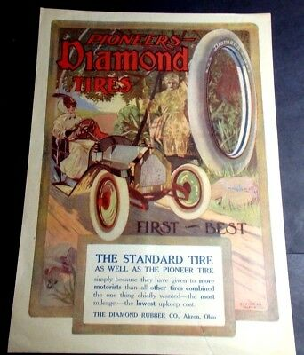 1912-14 Advertisement For Pioneers Diamond Tires By Diamond Rubber Co Akron Ohio