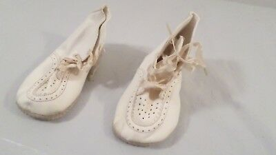 Pair of White to Off White Soft Ankle High Vintage Baby Shoes