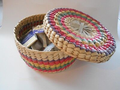 Vintage Mexican Woven Basket With Sewing Craft Contents Included.