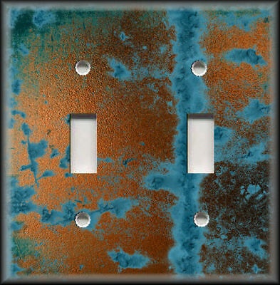 Light Switch Plate Cover - Image Of Aged Copper Design Rustic Patina Home Decor
