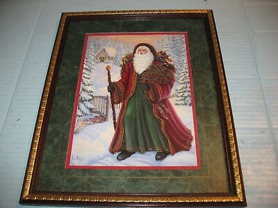 Home Interior Victorian Old World Santa Claus Picture Framed & Matted