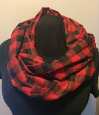 Red and Black Buffalo Plaid Cotton Flannel Infinity Scarf