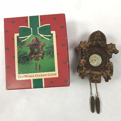 Hallmark Old-World Cuckoo Clock 1984 Ornament Brass Face Santa Box QX455-1