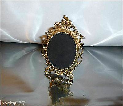 Vintage Ornate Standing Miniature Brass Picture Frame, Gold Toned