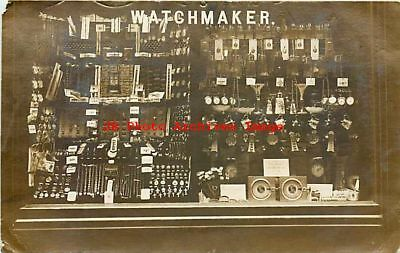 England, Rochdale, RPPC, Watchmaker Window Display, F.S. Bain Studio Photo